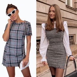 AQUA Plaid Tweed Mini Dress